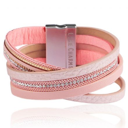 5 Crossed Row Pink Colour Wrap Bracelet